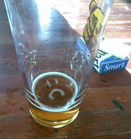 almost empty beer is sad