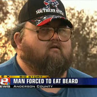 man forced to eat beard