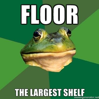 floor, the largest shelf