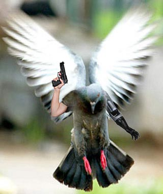 bird with human arms gun - pichars.org