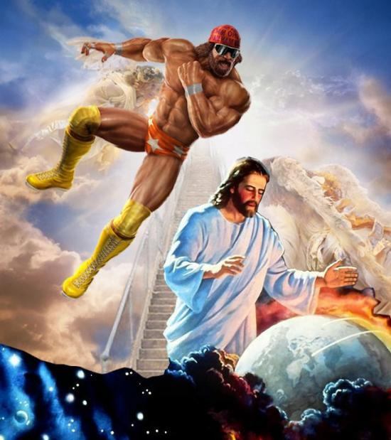 Macho Man, & Jesus Wrestling
